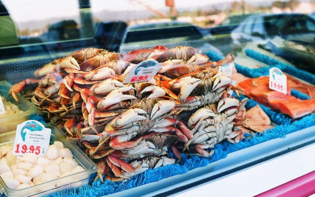 foto viskraam, krabben