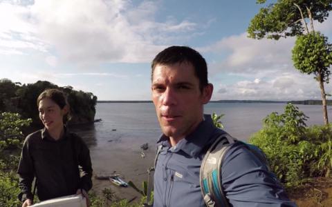 man, vrouw, selfie, water, jungle
