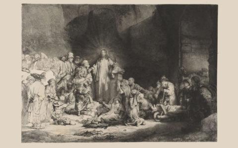 schilderij, de predikende christus