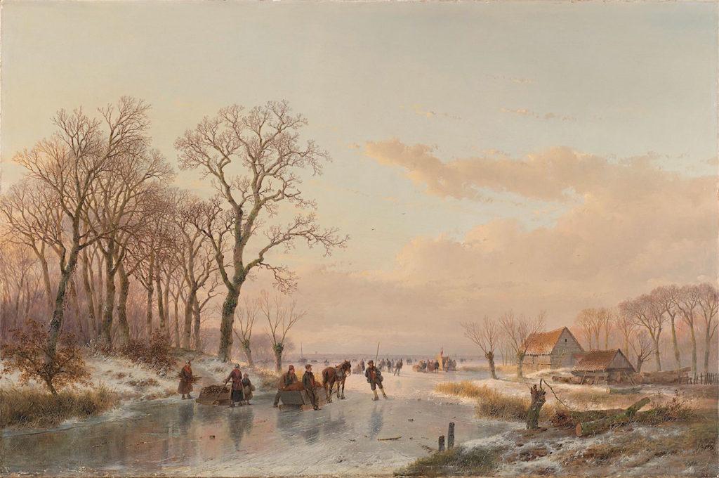 Een bevroren vaart bij de Maas, Andreas Schelfhout, 1867 (c) Rijksmuseum)
