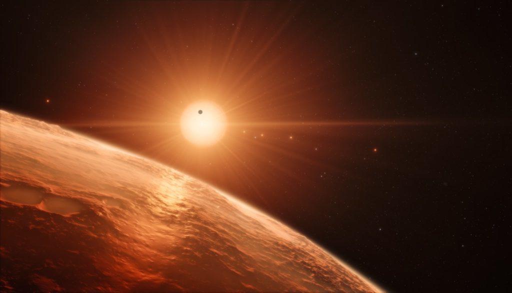 Artistieke impressie TRAPPIST-1 systeem