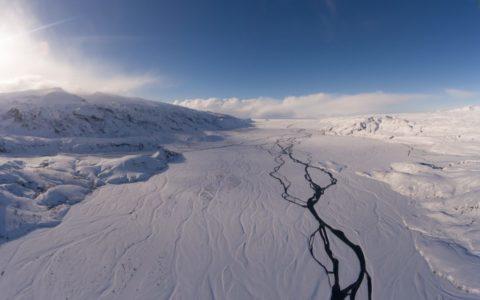 foto, bergen, sneeuw, rivier
