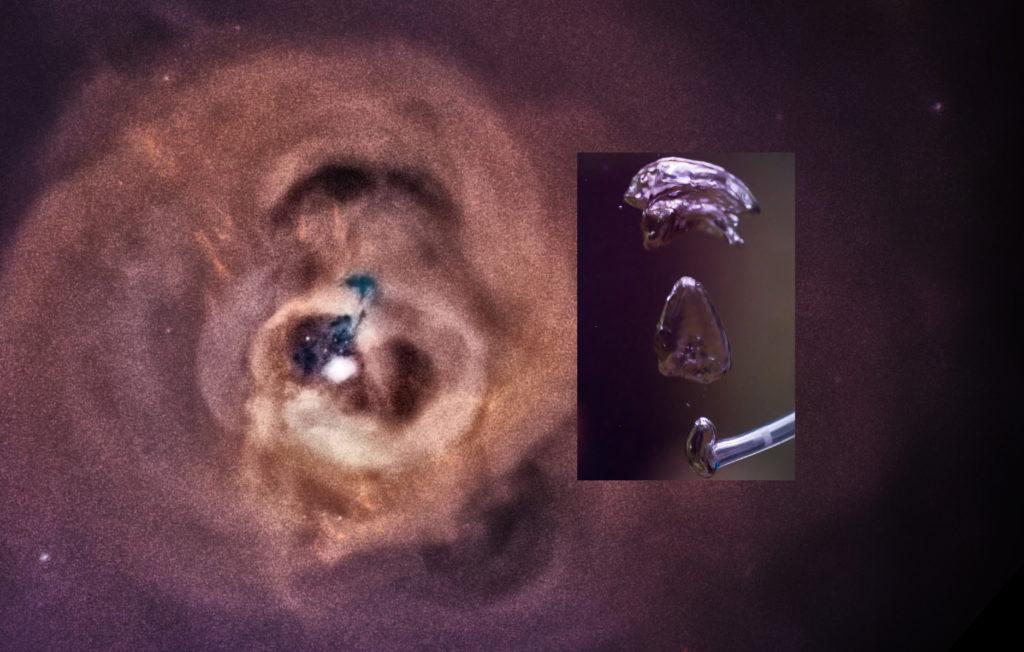 Bellen in het Perseus cluster en in aquarium