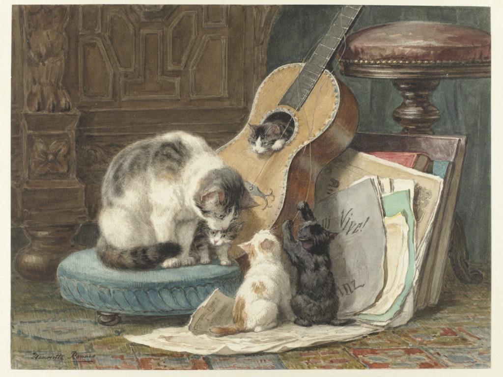 Schilderij De Toonkunstenaars, voorloper van de kattenfilmpjes