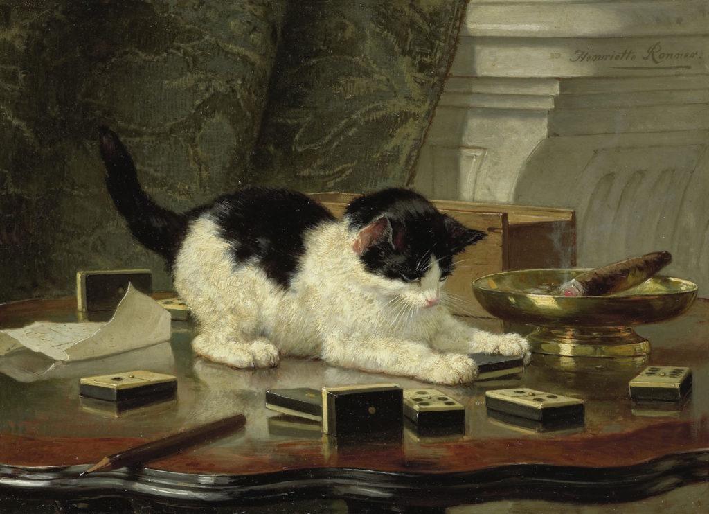 Henriëtte Ronner-Knip (1821-1909), Katjesspel, 1878.