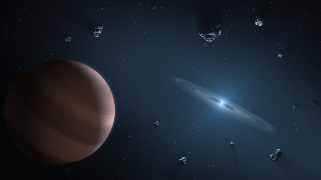 Exoplaneet en een protoplanetaire schijf