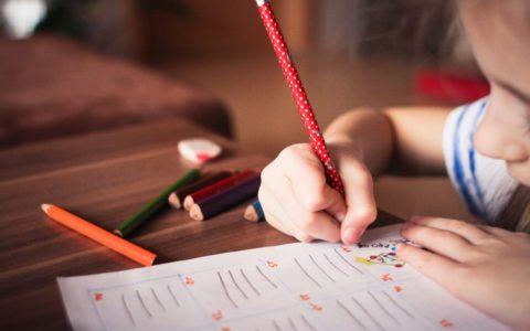 meisje, kind, tekenen, potlood