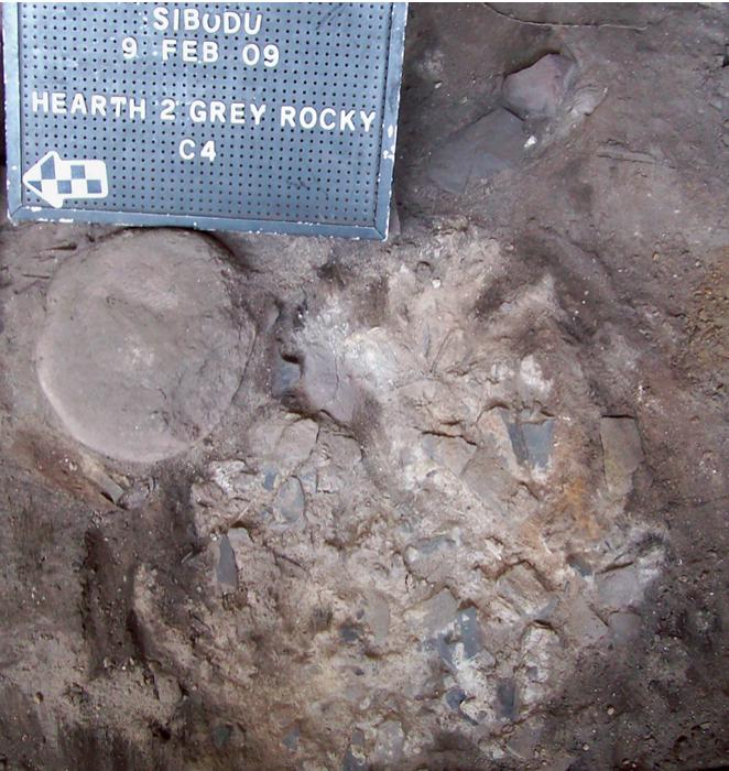 Haard uit de Middle Stone Age in Sibudu