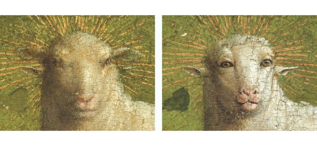 Schilderij Lam Gods detail met stralenkrans