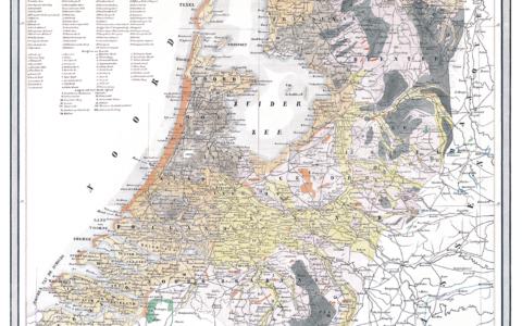 De eerste geologische overzichtskaart van Nederland door W.C.H. Staring (1844), schaal 1:800.000. Digitaal gerestaureerd en uitgegeven in 2017 door TNO – Geologische Dienst Nederland.