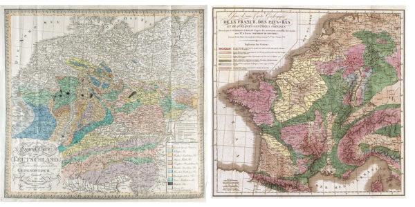 De eerste twee geologische kaarten waarop Nederland staat weergegeven. Links: Christian Keferstein (1821); rechts: Jean-Baptiste d'Omalius d'Halloy (1822). Bronnen: http://wtkg.org/archief/geo_kaarten_duitsland_geo_1821.html en http://www.dbnl.org/tekst/hall014gesc02_01/hall014gesc02_01_0024.php