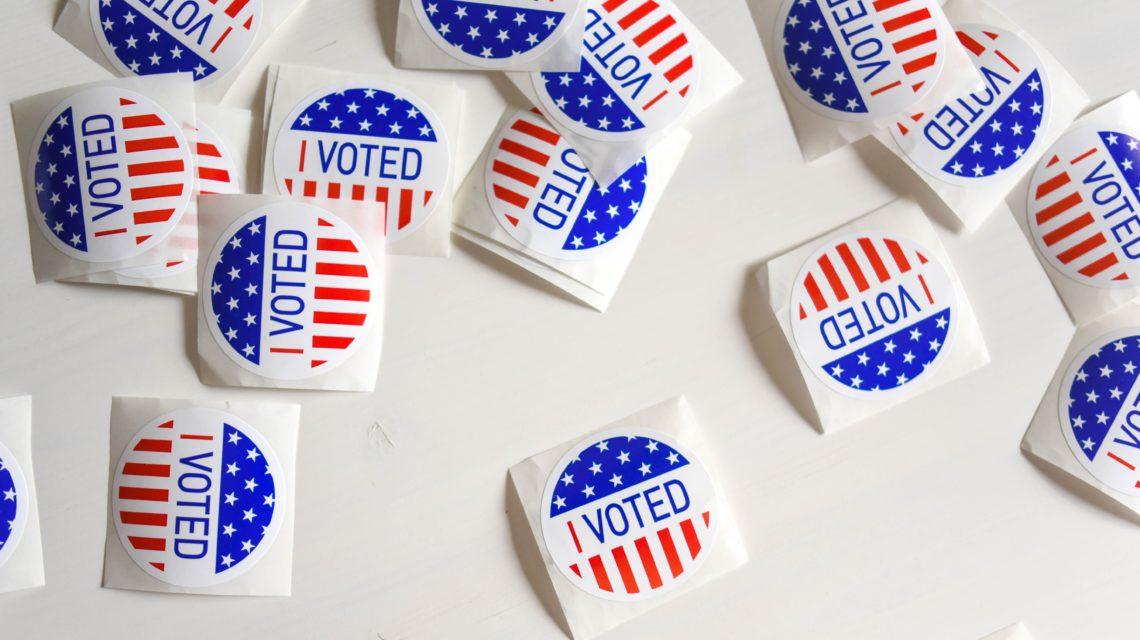 I voted-stickers die werden uitgedeeld tijdens de Amerikaanse midterms in 2018