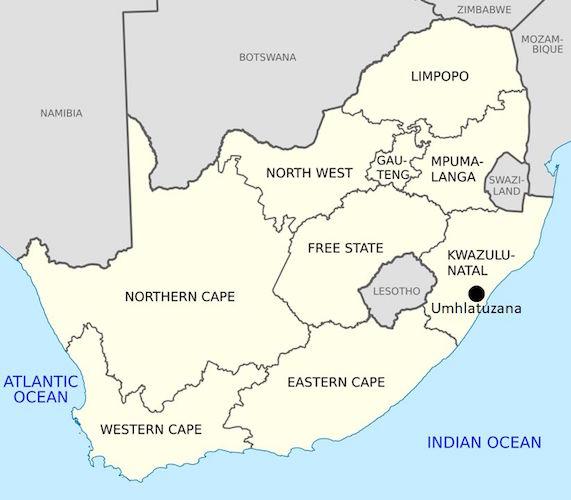 Kaart met de locatie van Umhlatuzana.
