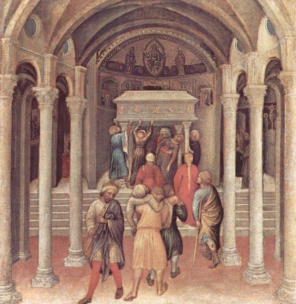 Kreupelen en zieken genezen bij de tombe van Nicolaas in Bari.