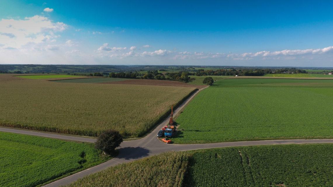 Drone-foto van de boorlocatie in Zuid-Limburg