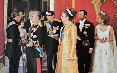 Bernhard, de Sjah en koningin Farah Pahlavi, Tehran, 1970s