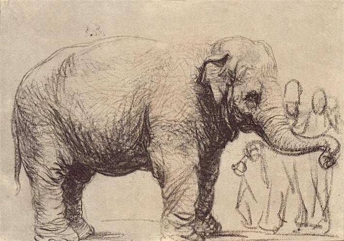 Rembrandt olifant met omstanders