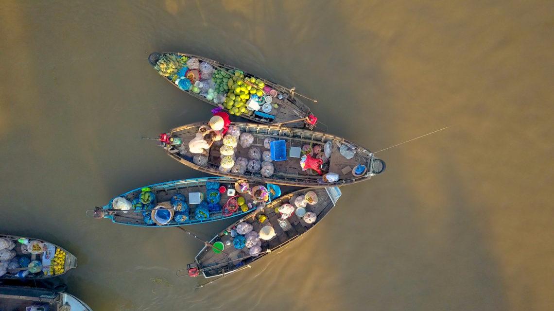 Markt Mekong-rivier