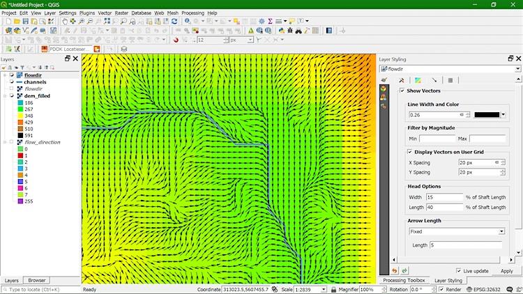 QGIS visualisatie stromingsrichting