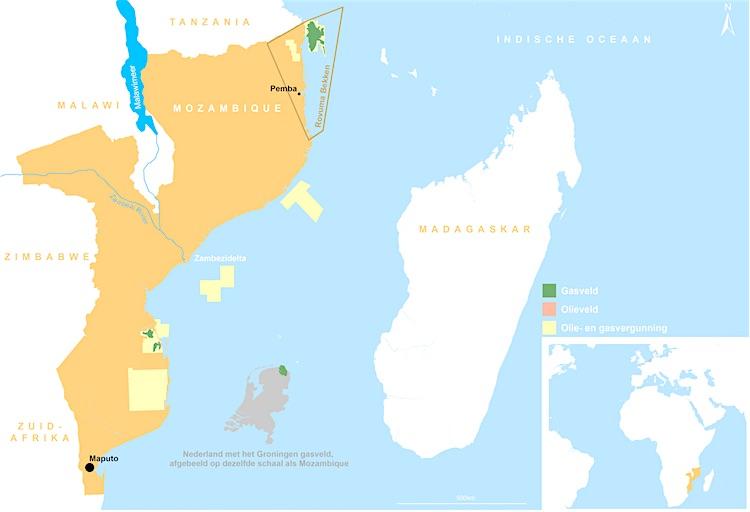 Overzichtskaart Mozambique Nederland