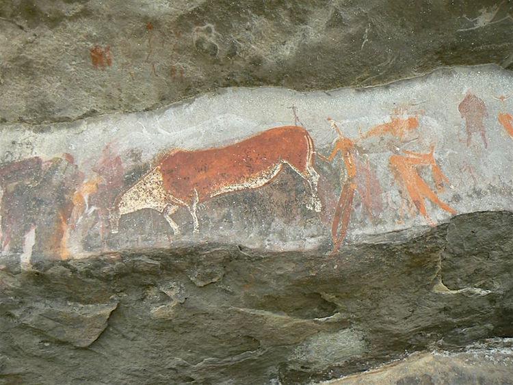 Eland-antilope met shamaan