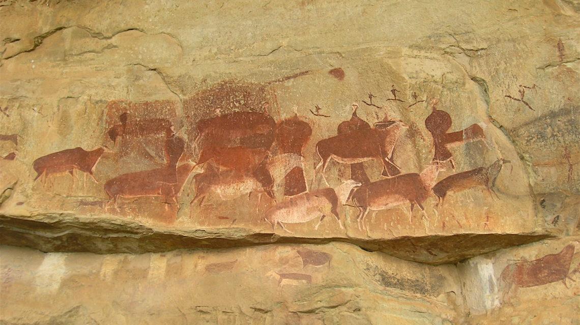 Prehistorische rotskunst: Eland-antilopen met shamanen