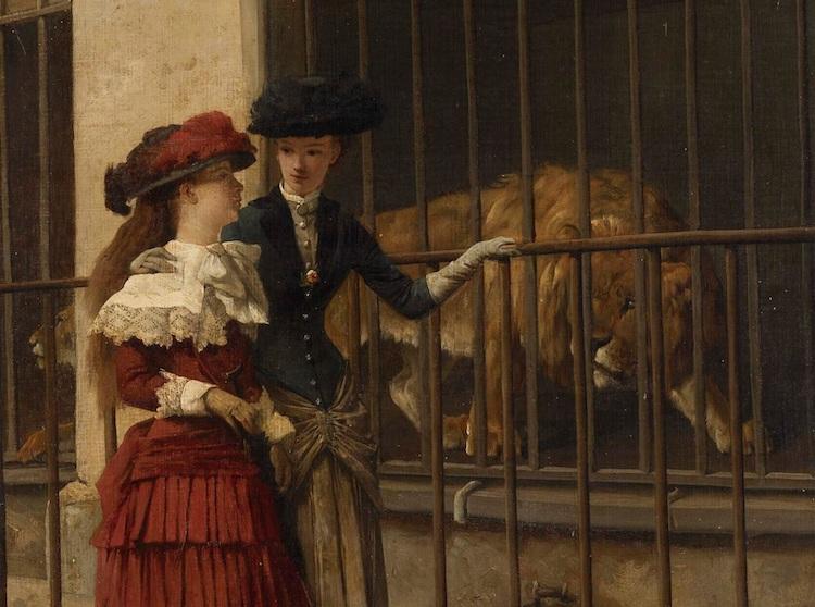 Leeuw met bezoekers